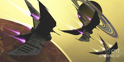 Three Spacecraft Pass By One Of Saturns Art Print by Corey Ford