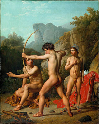 Three Spartan Boys Practising Archery Art Print by Christoffer Wilhelm Eckersberg