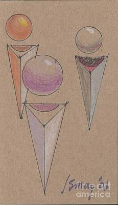 Drawing - Three Spheres Floating Over Three Quadrelaterals by Rod Ismay