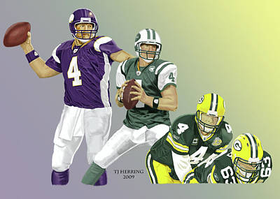 Digital Art - Three Stages Of Bret Favre by Thomas J Herring