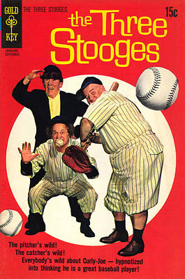 Damsel In Distress Digital Art - Three Stooges Comic Book Cover by The Three Stooges