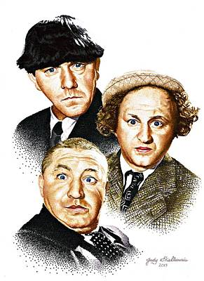 Three Drawing - Three Stooges by Judy Skaltsounis