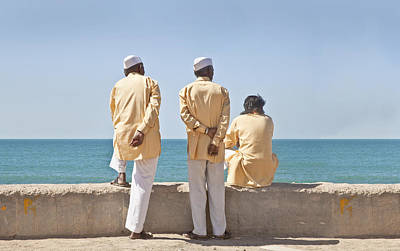 Arabian Attire Photograph - Three Stooges Waiting Time Pass by Kantilal Patel