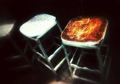 Eatery Digital Art - Three Stools by Olivier Calas