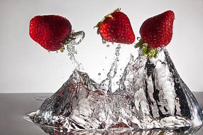 Three Strawberries Freshsplash Original by Steve Gadomski