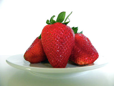 Photograph - Three Strawberries by Julie Palencia