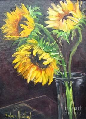 Painting - Three Sunflowers by Barbara Haviland