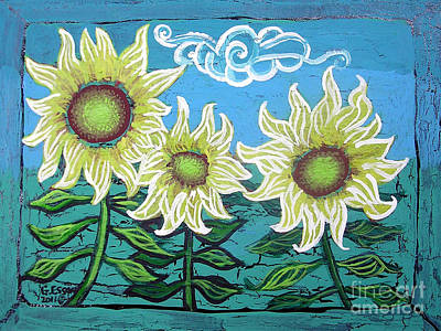 Eco-art Painting - Three Sunflowers by Genevieve Esson