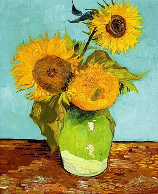 Three Sunflowers In A Vase Art Print by Vincent Van Gogh