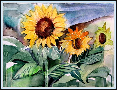 Three Sunflowers Art Print by Mindy Newman