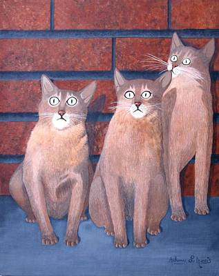 Painting - Three Tan Cats by Anthony Morris