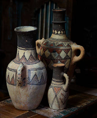 Earthenware Urn Photograph - Three Terracotta Vases by Lorenzo Williams