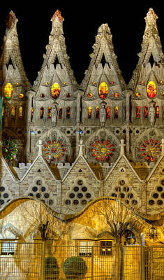 Photograph - Three Tiers - Sagrada Familia At Night - Gaudi by Weston Westmoreland