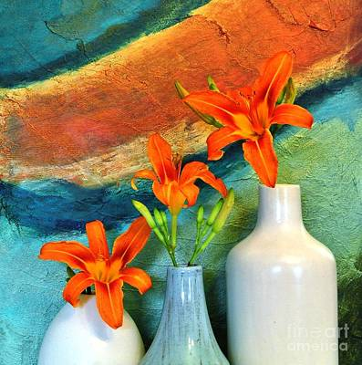 Three Tigerlilies In A Vase Art Print by Marsha Heiken