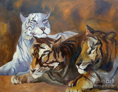 Painting - Three Tigers by Carolyn Jarvis