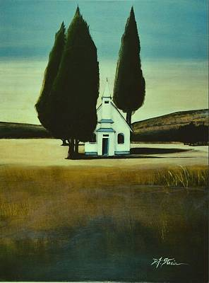 Three Trees And A Church Art Print
