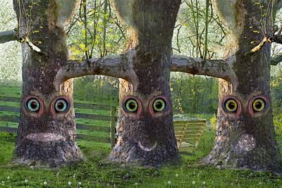 Three Trees Print by Betsy C Knapp
