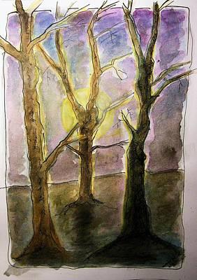 Meditative Drawing - Three Trees by Mimulux patricia no No