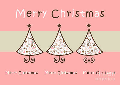 Swrils Digital Art - Three Trees Pink - Merry Christmas Greeting Card by Aimelle