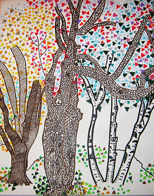 Three Trees Tree Squared Tree Cubed Tree Four Art Print by Lois Picasso