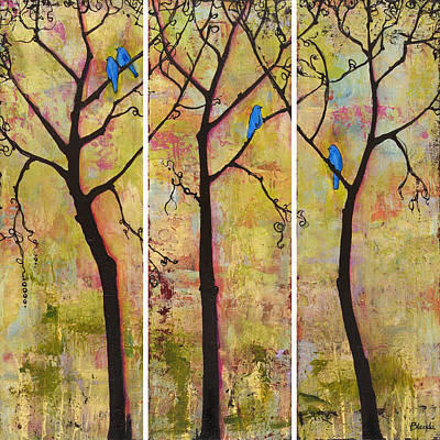 Triptych Painting - Three Trees Triptych by Blenda Studio