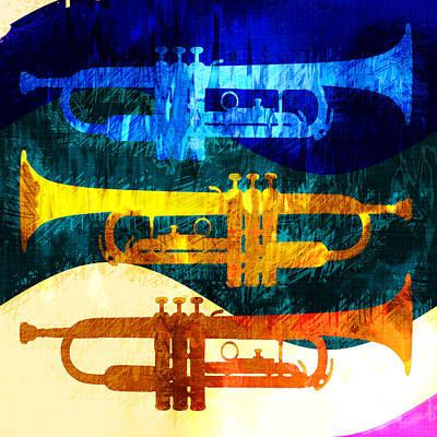 Jazz Digital Art - Three Trumpets by David G Paul