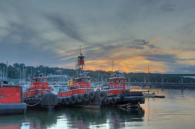 Bridge Photograph - Three Tug Boats by Ralph Staples