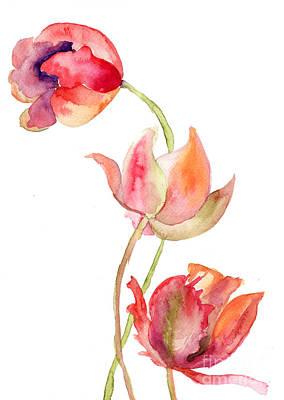 Invitations Painting - Three Tulips Flowers by Regina Jershova