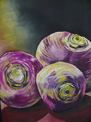 Pastel - Three Turned Up by Outre Art  Natalie Eisen