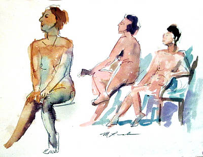 Painting - Three Two Minute Poses by Mark Lunde