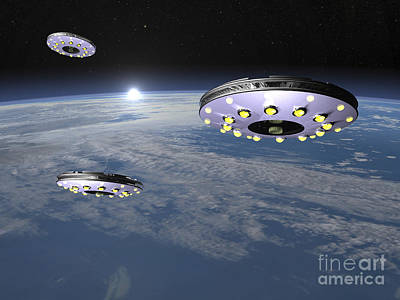 Fantasy Royalty-Free and Rights-Managed Images - Three Ufos Flying Above Planet Earth by Elena Duvernay