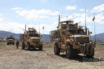 Three U.s. Army Mine Resistant Ambush Print by Stocktrek Images