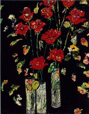 Painting - Three Vases With Roses by Elaine Elliott