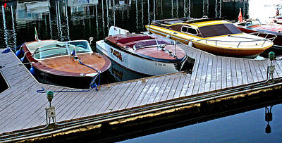 Photograph - Three Vintage Chris Crafts by Joseph Coulombe