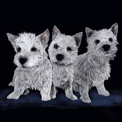 Purebred Digital Art - Three Westie Puppies by Debra Baldwin
