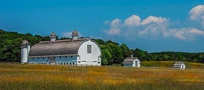 Country Scene Photograph - Three White Barns by Paul Freidlund