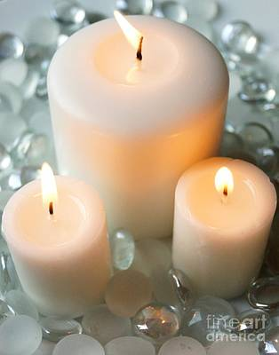 Photograph - Three White Candles by Kerri Mortenson