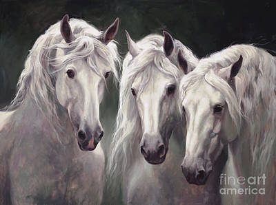 Three White Horses Print by Laurie Hein