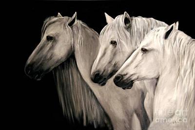 Three White Horses Art Print by Nancy Bradley