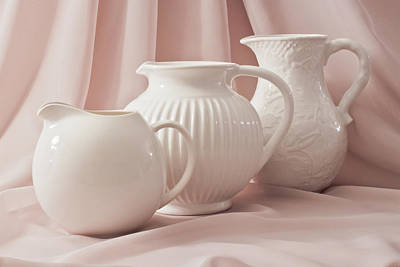 Art Print featuring the photograph Three White Pitchers by Sandra Foster