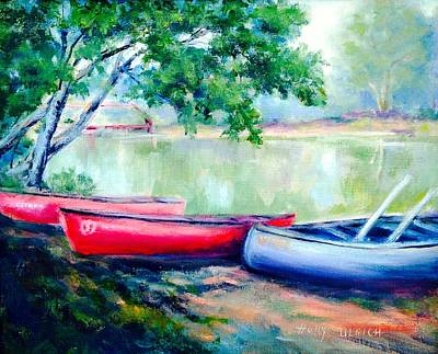 Docking Painting - Three White River Canoes by Holly LaDue Ulrich