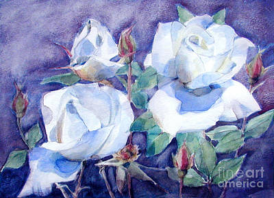 White Roses With Red Buds On Blue Field Original by Greta Corens