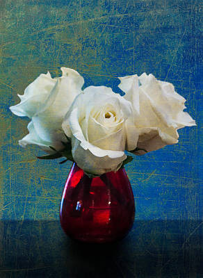 Digital Art - Three White Roses by Eduardo Tavares
