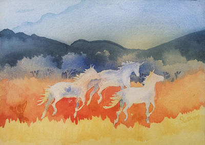 Three Wild Horses Art Print by Christine Lathrop