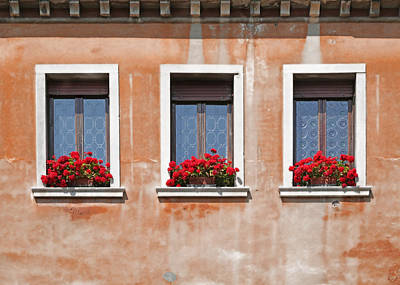 Terra Cotta Photograph - Three Windows In Venice by Brooke T Ryan