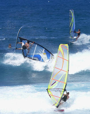 Photograph - Three Windsurfers In The Waves by John Orsbun