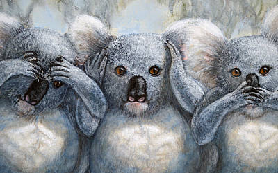 Painting - Three Wise Koalas Close Up by David Clode