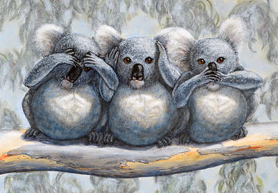 Painting - Three Wise Koalas See No Evil Hear No Evil Speak No Evil by David Clode