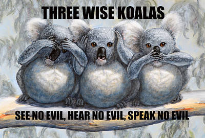 Painting - Three Wise Koalas With Text by David Clode