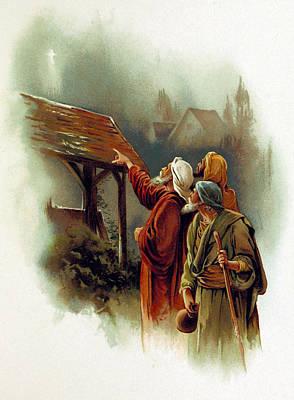 Three Wise Men And The Star Of Bethlehem Art Print